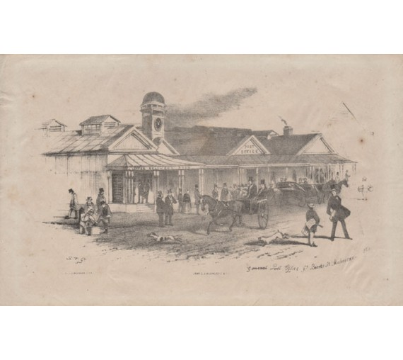 general post office bourke st melbourne lithograph gill