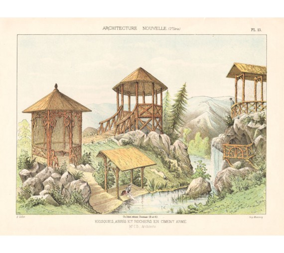 kiosques chromolithograph gillet french garden design