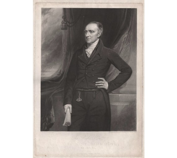 Viscount Sidmouth mezzotint engraving
