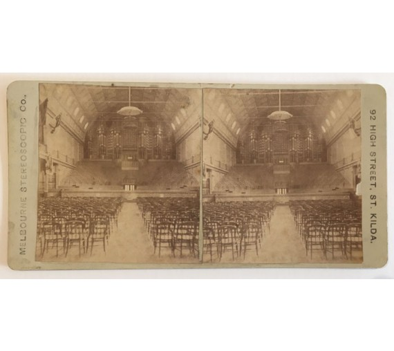 stereoview photograph melbourne exhibition pipe organ