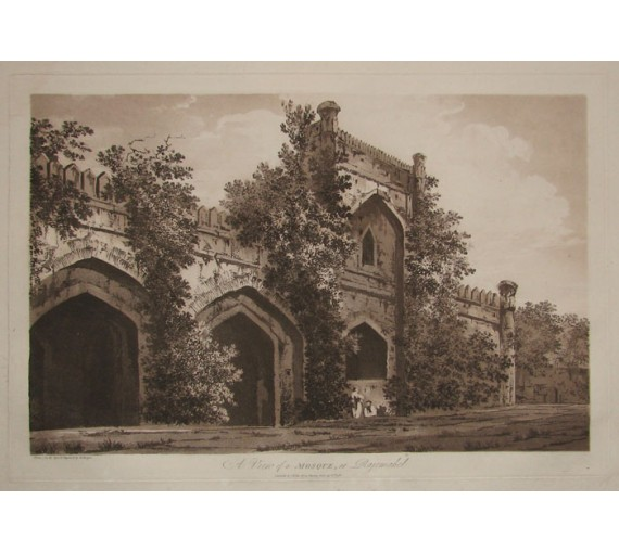 Mosque Rajemahel India aquatint William Hodges