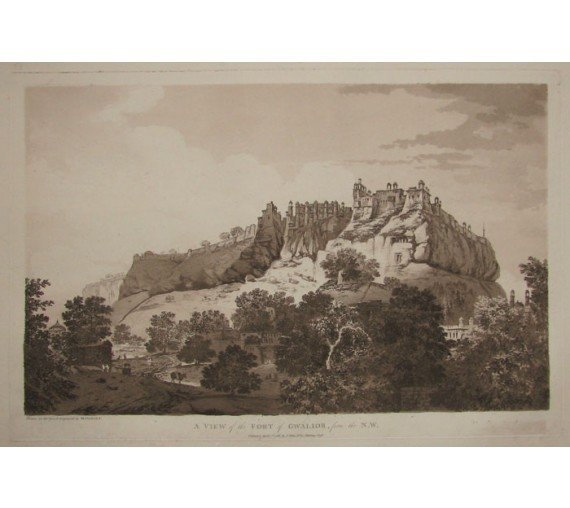 Fort Gwalior India aquatint William Hodges