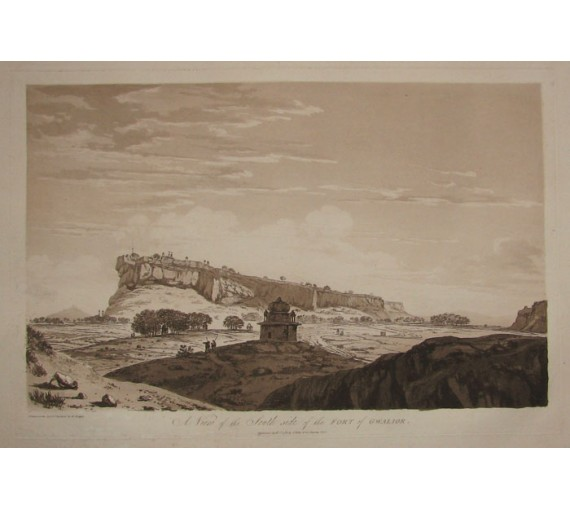 South Side Fort Gwalior India aquatint William Hodges