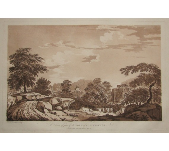 Fort Lutterfpoor India aquatint William Hodges