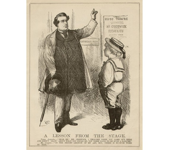 Melbourne Punch Lesson Stage engraving Carrington 1877