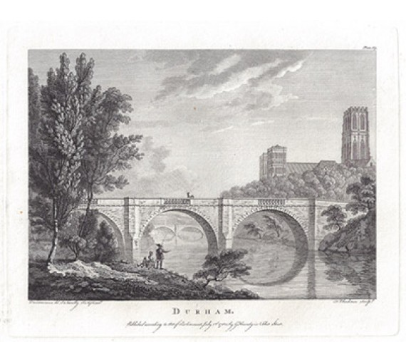 Durham Paul Sandby antique print engraving