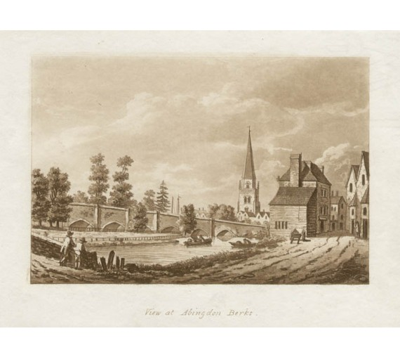 View of Abingdon, Berkshire Thames Samuel Ireland aquatint