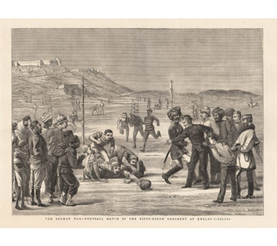 Afghan War Football Match soccer antique engraving