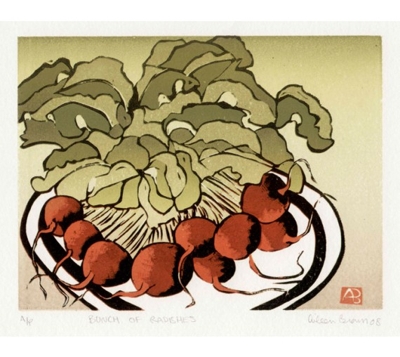 Radishes Aileen Brown limited edition signed linocut