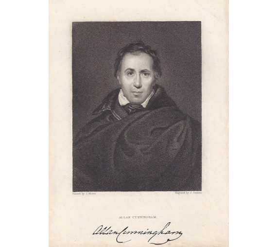 Allan Cunningham Scottish poet portrait engraving print