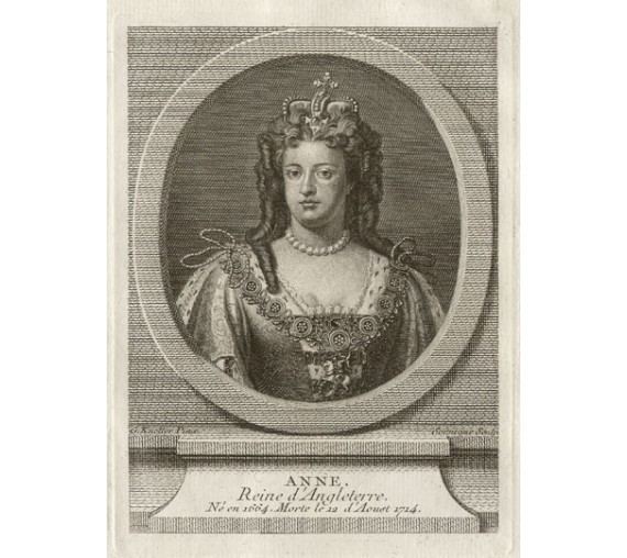 Queen Anne England portrait engraving print
