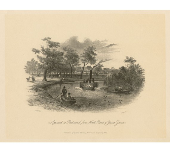 Approach to Richmond Yarra Lithograph  ST Gill