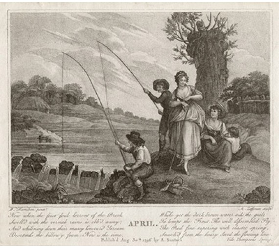 April print Angling engraving William Hamilton