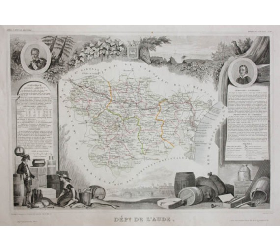 aude levasseur french department antique map