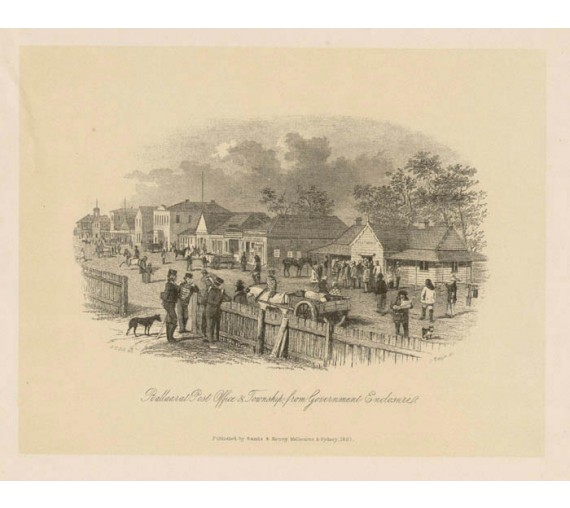 Ballarat Post Office Township Government Enclosure lithograph Gill