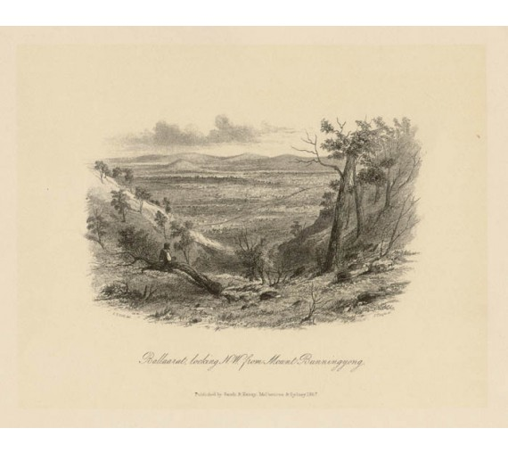 Ballarat looking North West Mount Bunningyong lithograph Gill