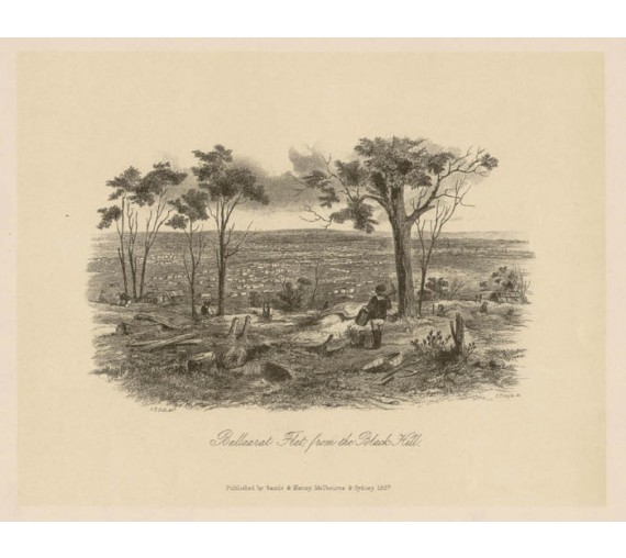 Ballarat Flat Black Hill  lithograph Tingle ST Gill