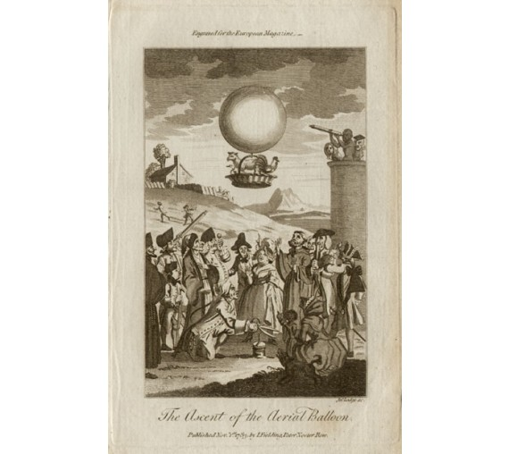 Montgolfier Ascent Air Balloon antique engraving 1783