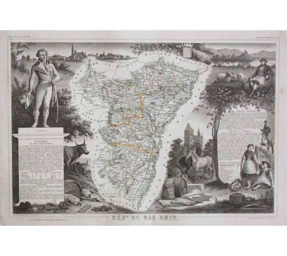 bas rhin levasseur french department antique map