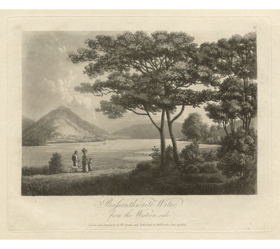 Lake District Bassenthwaite Water Green antique engraving