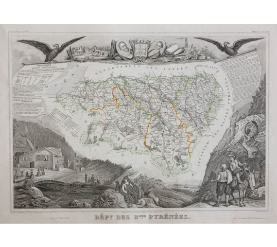 basses pyrenees levasseur french department antique map