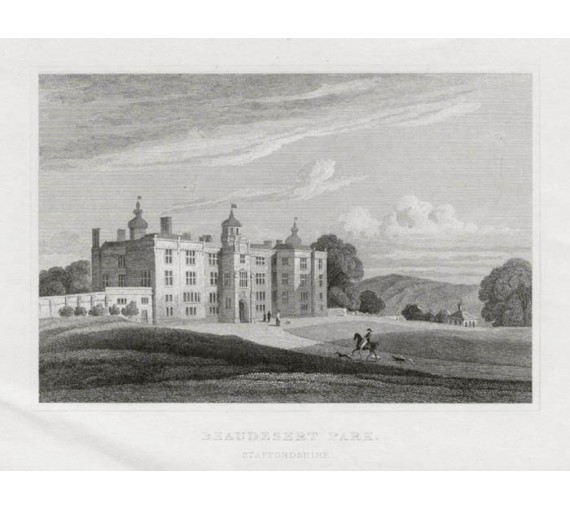 Beaudesert Park Staffordshire Neale antique engraving