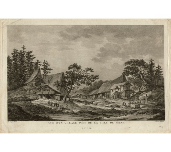 village Berne Switzerland view engraving Chatelet