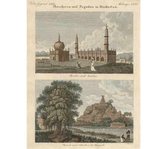 India Mosques Pagodas Bertuch antique engraving