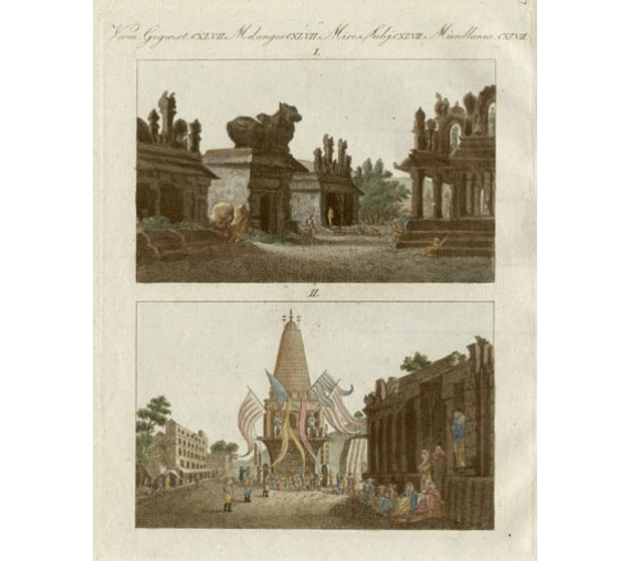 Pagodas Mysore India antique engraving Bertuch