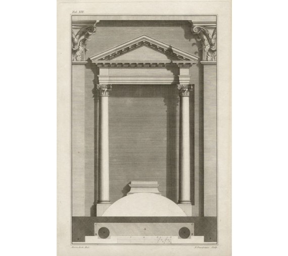 castelli architectural design antique engraving print doorway