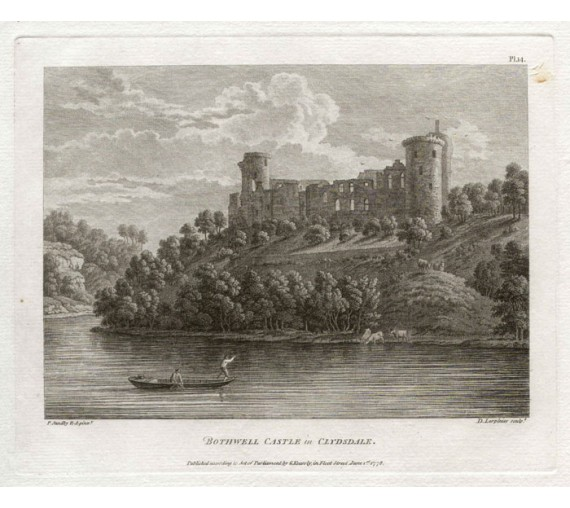 Bothwell Castle Scotland Paul Sandby antique print engraving