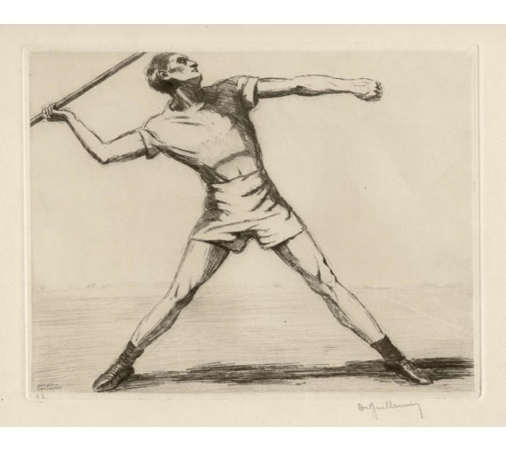 javelot Javelin etching Guillaumin Paris Olympics athletics
