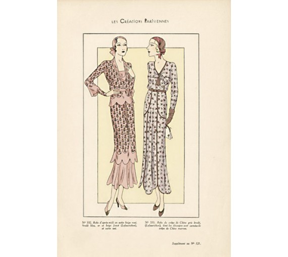 les creations parisiennes french 1930s fashion design illustration