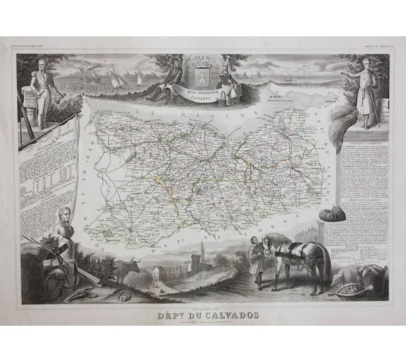 calvados levasseur french department antique map