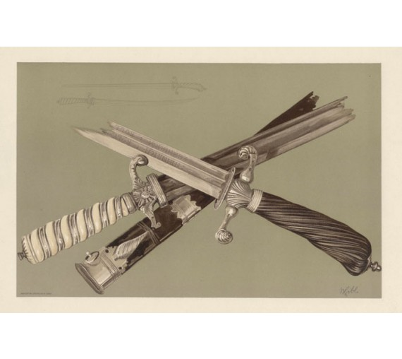 Swords General Wolfe Captain Cook Chromolithograph 1896