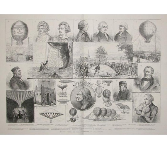 Illustrations Centenary Ballooning antique wood engraving