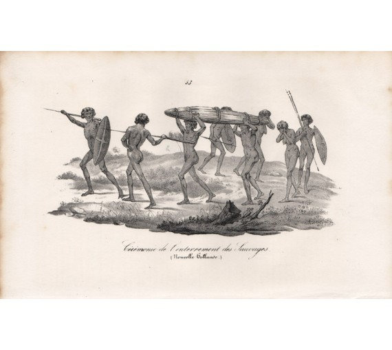Ceremonie enterrement Sauvages Aborigine Lithograph Jacques Arago