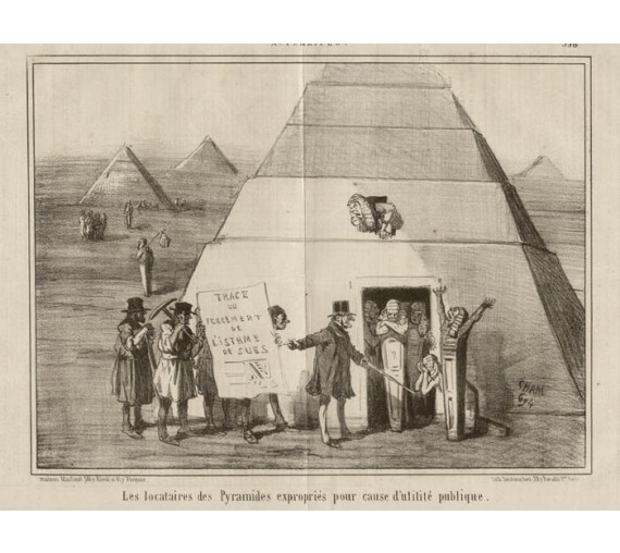 Pyramides Lithograph French cartoon Cham