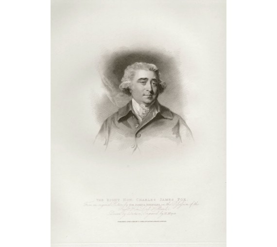 Charles Fox portrait engraving print Reynolds