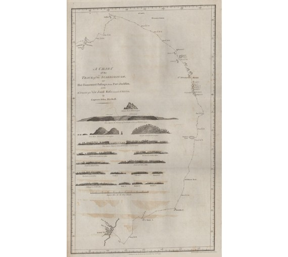 Chart Track Scarborough engraving Captain John Marshall 1789