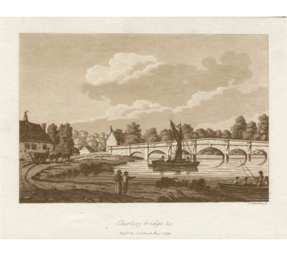 Chertsey Bridge Surrey Thames Samuel Ireland aquatint