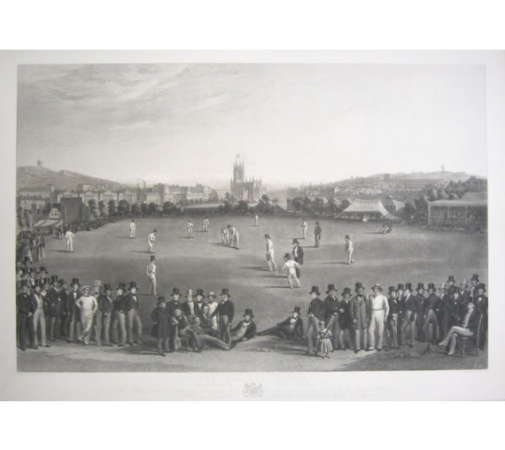 print Cricket Match Sussex Kent Brighton antique engraving