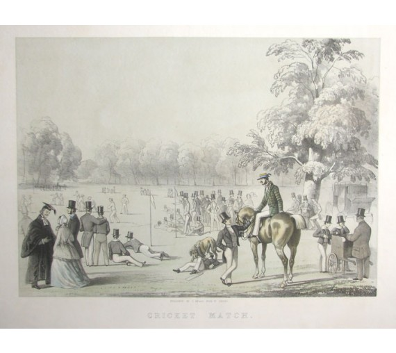 Cricket Match lithograph Tatton Winter print antique