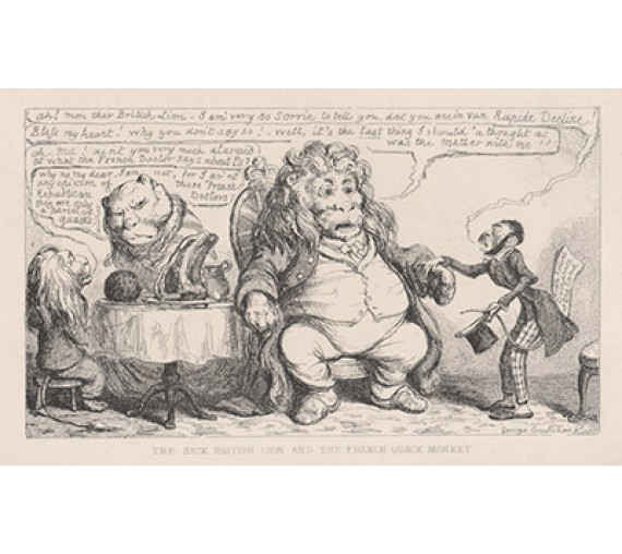 Sick British Lion French Quack Monkey Cruikshank etching