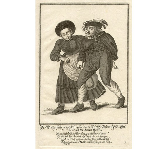 German folk dancing engraving