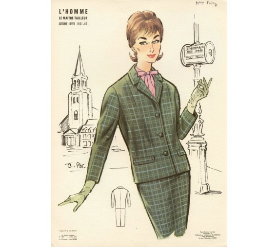 french 1960s fashion design darroux illustration paris