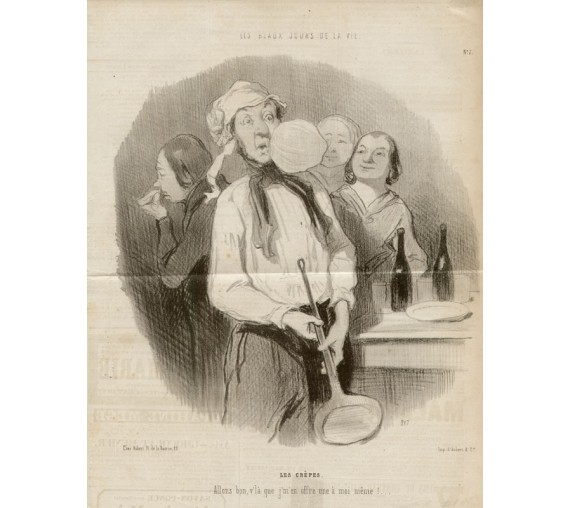 Honore Daumier lithograph Les Crepes Le Charivari cooking