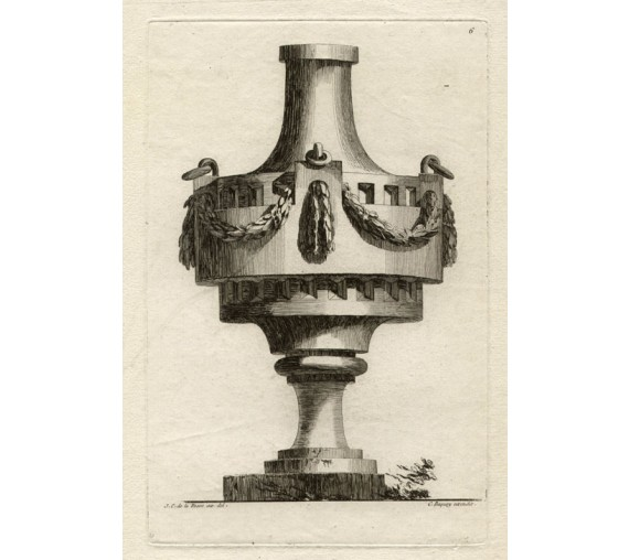 Delafosse urns French design antique engraving print