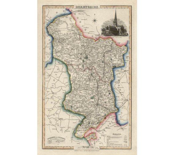 derbyshire english county slater antique map