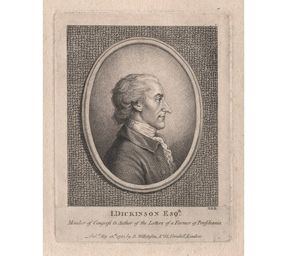 John Dickinson portrait engraving print Pennsylvania Congress